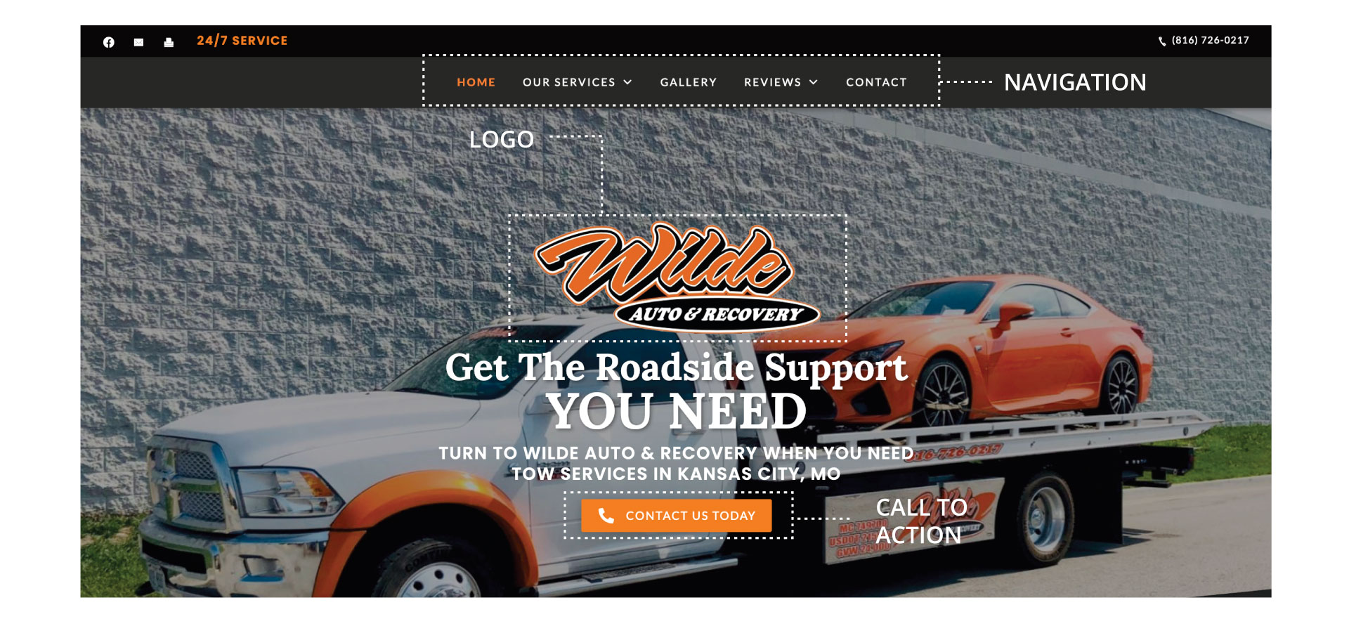 Tow truck website components